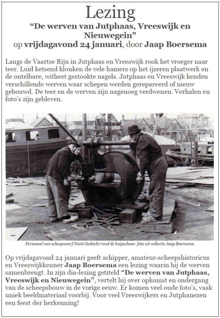 """Clubavond - Lezing """"De werven van Jutphaas, Vreeswijk en Nieuwegein"""", door Jaap Boersema @ Clubhuis VMBC het Anker"""